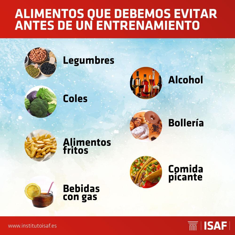 alimentos a evitar antes de entrenar - ISAF