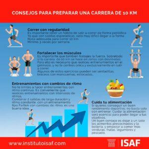 rutinas de entrenamiento para correr 10 km infografia - isaf